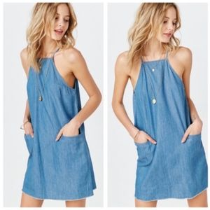 Urban Outfitters BDG High-Neck Chambray Dress